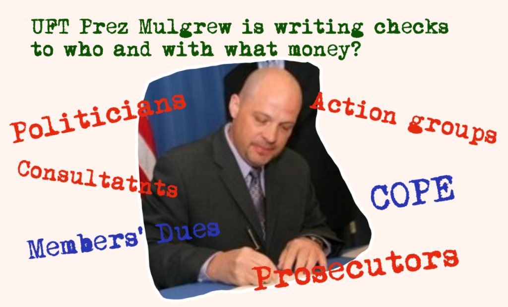 UFT President Michael Mulgrew writes checks
