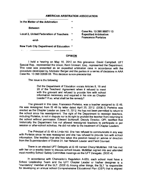 Portelos Arbitration Decision Case 13 390 00871 13_Page_1
