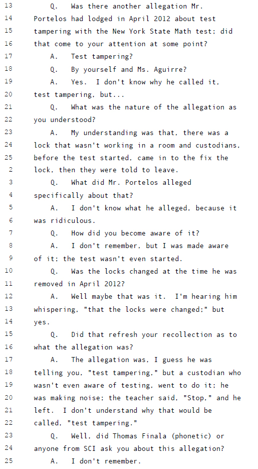 Principal Hill Lying about test distraction under oath.