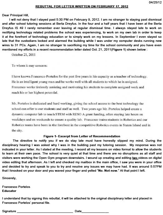 Sample Rebuttal Letter For Teachers