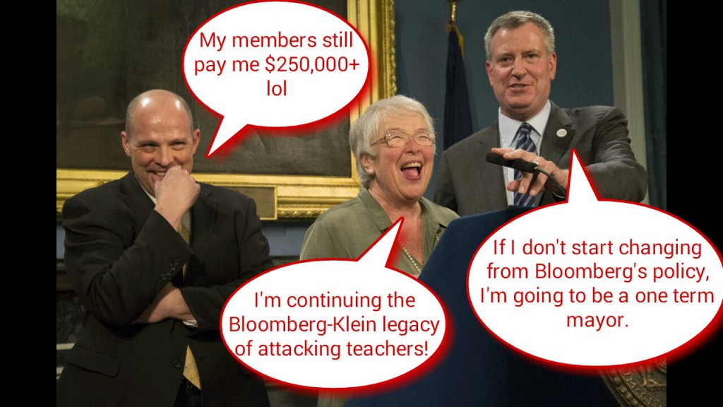 Mayor de Blasio, UFT President Mulgrew and Chancellor Farina laugh at the new contract that is ignored.
